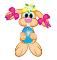 easter bunny girl vector image vector image