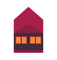 flat private house cottage red icon vector image