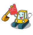 foam finger excavator mascot cartoon style vector image