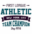 graphic design first league athletic for t-shirts vector image vector image