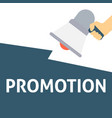 hand holding megaphone with promotion announcement vector image