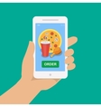 Hand holding smartphone with pizza cola chicken vector image vector image