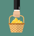 Hand holding wicker basket with golden eggs vector image vector image
