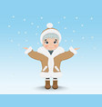 happy cute little girl outdoors snowing vector image