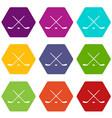 hockey icon set color hexahedron vector image vector image