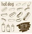 Hot Dog Hand Drawn Set vector image vector image