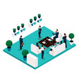 isometric office room rear view vector image vector image