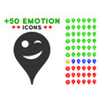 joke smiley map marker icon with bonus mood set vector image