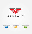 letter v logo with wings vector image