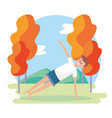 man training yoga with fitness position vector image