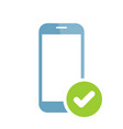 mobile phone icon with check sign vector image