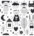 monochrome seamless pattern with cute animals vector image vector image