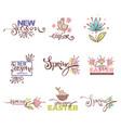 new season arrivals ester logo spring sympols vector image vector image