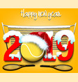 new year numbers 2019 and tennis ball vector image vector image