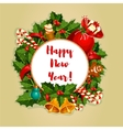 New Year round poster with decorations vector image vector image