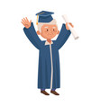 old man eldery with graduation uniform character vector image vector image