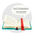 open dictionary book with all answers to questions vector image vector image