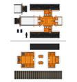 paper model a retro diesel locomotive vector image