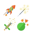 Pyrotechnics and fireworks icon vector image vector image