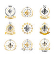 royal symbols lily flowers emblems set heraldic vector image