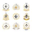 royal symbols lily flowers emblems set heraldic vector image vector image
