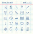 school elements 25 doodle icons hand drawn vector image vector image
