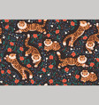 seamless pattern with tigers and flowers vector image vector image