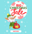 shopping promo christmas sale with elf vector image vector image