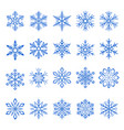 snowflake blue line icons on white background vector image
