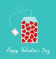 teabag with red heart set inside happy valentines vector image