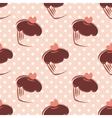 Tile pattern polka dots and cupcake vector image vector image