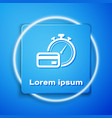 white fast payments icon isolated on blue vector image vector image