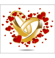 with wedding rings and Red Heart vector image vector image