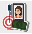 woman smartphone target money bills vector image
