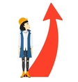 Woman with arrow going up vector image vector image
