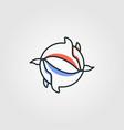 yin yang animal whale symbol design vector image