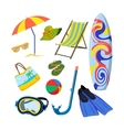set of summer objects isolated on white vector image
