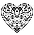 scandinavian folk heart black pattern vector image