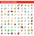 100 hotel icons set isometric 3d style vector image vector image