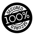 100 percent secured stamp on white