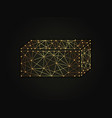 3d rectangle golden abstract on dark vector image vector image