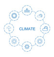 8 climate icons vector image vector image