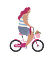 active modern hipster girl on a pink bike with vector image
