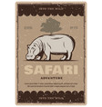 african safari tour vintage banner with hippo vector image vector image
