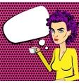 Angry woman purple hair pop art drinking coffee vector image