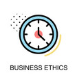 business ethics icon with clock on white vector image