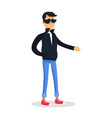 cartoon man in black jacket and glasses on white vector image