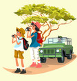 cheerful tourists taking pictures and watching in vector image
