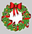 christmas wreath of fir branches with a bow vector image vector image