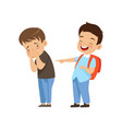 classmate laughing and pointing at sad boy bad vector image vector image